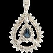 Sapphire & Diamond Pendant - 14k White Gold September Birthstone Genuine 1.00ctw