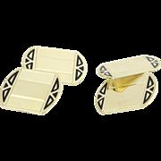 SOLD Art Deco Era Cufflinks - 14k Yellow Gold Black Enamel Circa 1920s - 1930s