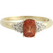 Andesine Solitaire Ring - 10k Yellow Gold Diamond Accents Orange Solitaire