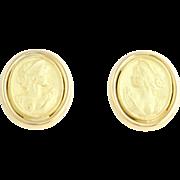 Gold Cameo Style Std Earrings - 18k Yellow Gold Fine Estate High Karat Pierced