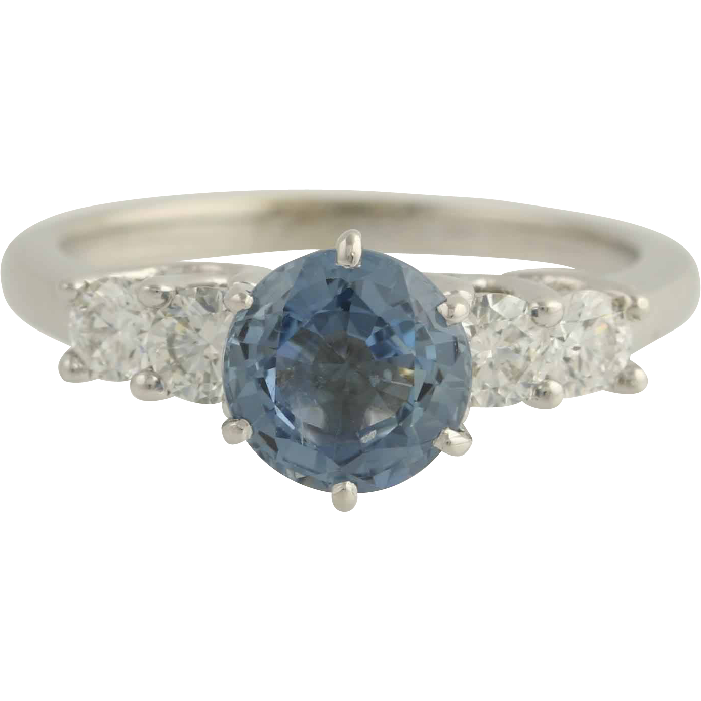 Sapphire & Diamond Engagement Ring 14k White Gold Light Blue Round from