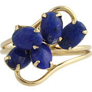 Lapis Bypass Cocktail Ring - 14k Yellow Gold Women's Size 4 1/2 Fine Estate