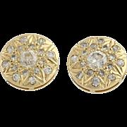 Diamond Stud Earrings - 14k Yellow Gold Screw-On Backs Pierced Genuine 1.00ctw