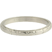 Art Deco Wedding Band - Platinum Eternity Style Design Women's Size 6 - 6 1/4