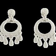 Diamond Dangle Earrings - 14k White Gold Open Cut Circles Pierced Genuine .12ctw