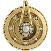 Victorian Pearl & Diamond Pendant - 18k Yellow Gold Rose Cut Enamel Fine .08ctw