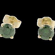 Diamond Stud Earrings - 14k Yellow Gold Color Enhanced Dark Green Fine .66ctw