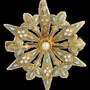 Floral Pearl & Enamel Brooch - 14k Yellow Gold Women's Fine Estate Light Blue