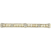 Art Deco Diamond & Pearl Brooch - 14k White Gold Bridal June Gift Genuine .07ctw