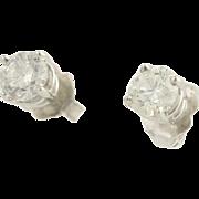 Diamond Stud Earrings - 14k White Gold Clarity Enhanced Pierced Fine .93ctw