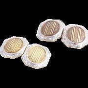 c1910s-20s Vintage Detailed Men's Cufflinks Chased - 14k White Yellow Gold 6.2g