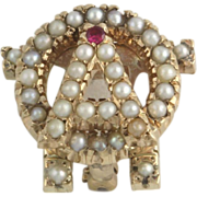 SOLD Vintage Alpha Omicron Pi Ruby & Pearl Badge - 10k Yellow Gold Pin 5.5g
