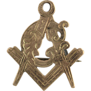 Antique Masonic Pin c.1880 - 1890 10k Yellow Gold Square and Compass G Fob Badge