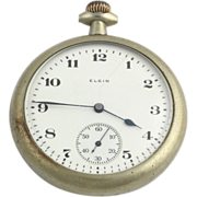 SOLD 1918 Elgin Open Face 16S Pocket Watch - Silver Tone NON-Working Antique