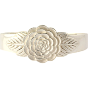 "SOLD Flower Blossom Cuff Bracelet 7"" - Sterling Silver Nature Women's Estate"