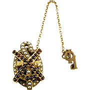 SOLD Alpha Chi Rho - 14k Yellow Gold fraternity 1914 Pearls Garnets Vintage Greek Pin