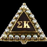 SOLD Sigma Kappa - 14K Gold Sorority Antique Pearl Badge PIN