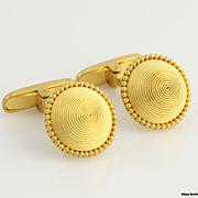 SOLD Vintage Round Spiral Fine Cufflinks 22k Solid Yellow Gold High Carat Cuff Links