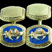 Shriners Masonic c.1910-20s Diamond Enameled Vintage Cufflinks Men's - 14k Gold