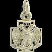 Scottish Rite Masonic Fob Pendant - 14k White Gold Vintage Mason 32nd Degree
