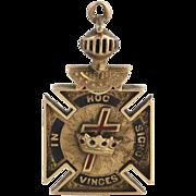 Knights Templar Masonic Vintage Fob - 14k Yellow Gold Masons Pendant 8+g 1900-10