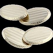 Edwardian Men's Cuff Links - 10k Solid Yellow Gold Vintage Wheat Pattern 4.8g