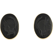Carved Intaglio Onyx Earrings - 14k Yellow Gold Cameo Black Oval Vintage Estate