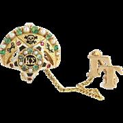 Kappa Sigma Badge Pin Natural Emeralds Rubies Seed Pearls - 14k Yellow Gold