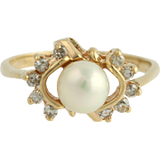 Akoya Pearl & Diamond Ring - 14k Yellow Gold 6.3mm .20ctw Cocktail