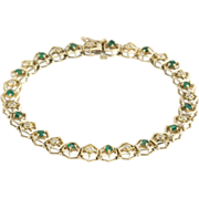 "SOLD Emerald & Diamond Bracelet 7.25"" - 14k Yellow Gold Estate Womens Hexagon 1.20ctw"