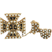 Vintage Alpha Tau Omega Fraternity Badge Pin - 14k Gold Seed Pearls 10k Guard