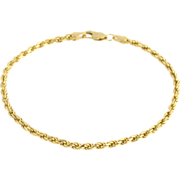"Rope Chain Bracelet 8"" - 14k Yellow Gold Italy Estate Jewelry Polished 6.5 grams"