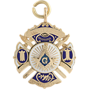 Masonic Fob Pendant - 14k Yellow Gold Vintage Blue Lodge c.1927 Master Mason