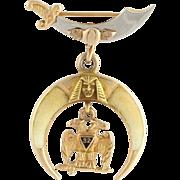 Vintage Shriners Pin - 14k Yellow & White Gold Masonic 32nd Degree Scottish Rite