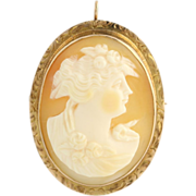 Vintage Carved Shell Cameo Brooch / Pendant - 10k Yellow Gold c.1920s - 1930s