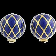 Blue Clip On Earrings - 18k Yellow Gold High Karat Designer Enamel