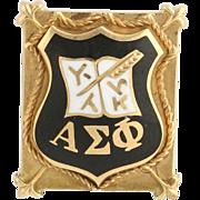 Alpha Sigma Phi Badge - 14k Yellow Gold Fraternity Pin Estate Crest Vintage 1937