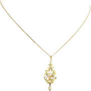 SOLD Vintage Pearl and .12ct Diamond Pendant & Chain Necklace - 14k Yellow Gold Fine