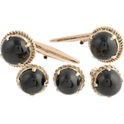 Black Star Diopside Cufflinks & Shirt Stud Set - 14k Yellow Gold Men's Estate