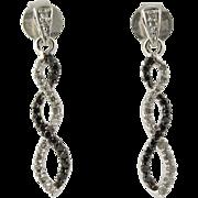 SOLD Black & White Diamond Drop Earrings - 10k White Gold Pierced Spiral Fine .20ctw