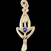 Art Deco Pearl & Glass Pendant - 10k Yellow Gold Circa 1920s - 1930s June Gift