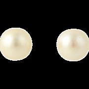 7.5mm Cultured Akoya Pear Stud Earrings - 14k Yellow Gold Classic
