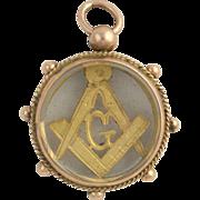 SOLD Antique Glass Masonic Blue Lodge Fob - 9k Yellow Gold c. 1902 British G Square