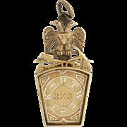 SOLD Scottish Rite York Rite Masonic Vintage Fob - 14k Yellow Gold Masons c. 1870-80