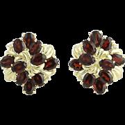 20.06ctw Genuine Garnet & Diamond Floral Earrings - 14k Yellow Gold Omega Back