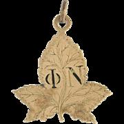 Phi Nu Large Leaf Vintage Pendant - 10k Gold Mystery Fraternity Sorority Charm