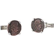 SOLD Merrin Coin Replica Cufflinks - Sterling Silver Constantine Polished Mens Estate