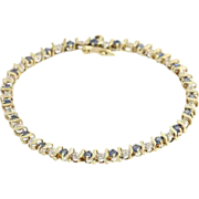 "SOLD Sapphire & Diamond Tennis Bracelet 6.75"" - 14k Yellow & White Gold 2.86ctw"