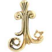 Mother's Pendant - 14k Yellow Gold Scroll Two Gemstone Settings Fine Estate