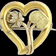 Art Nouveau Heart Brooch - 14k Yellow Gold Love Floral Circa 1910s - 1920s